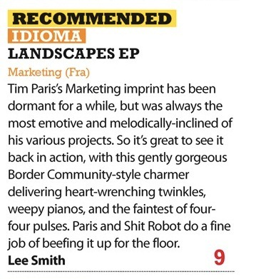 Review Idioma Landscapes EP - iDJ - Nov 09