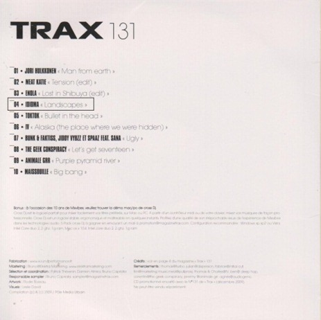 "Idioma ""Landscapes"" featured on December Trax Mag covermount CD"